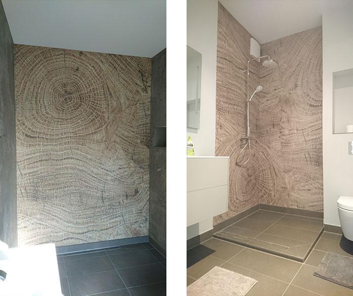 Beispiel unserer Tapezierarbeiten: Wandtapete für Dusche