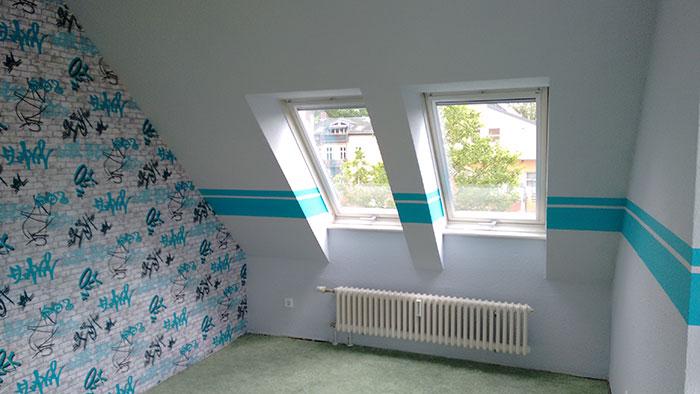 Beispiel unserer Tapezierarbeiten: Wandtapete im Kinderzimmer